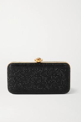 Versace Crystal-embellished Satin Clutch - Black
