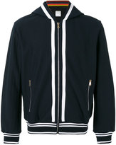 Paul Smith striped detail zipped hoodie
