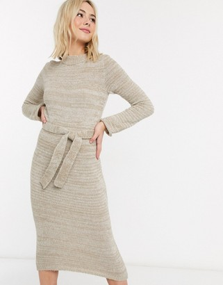 ASOS DESIGN knitted midi dress with belt