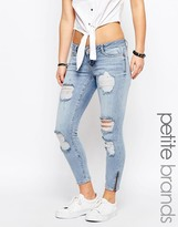 Noisy May Petite Eve Super Slim Ankle Zip Jeans