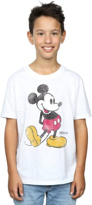 Disney Boys Mickey Mouse Classic Kick T-Shirt 7-8 Years White