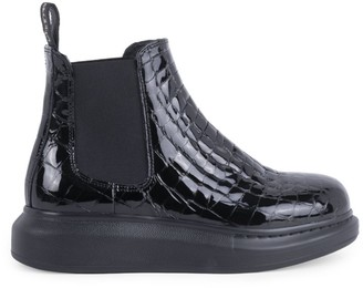 Alexander McQueen Hybrid Croc-Embossed Patent Leather Chelsea Boots