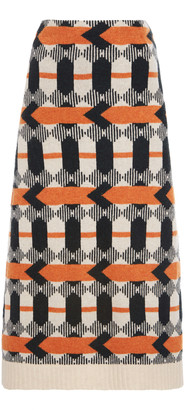 Prada Patterned Wool Midi Skirt