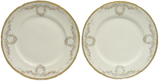 One Kings Lane Vintage Antique Haviland Limoges Plates - Set of 2 - Chez Vous - white/pink/green/gold