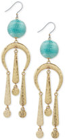 Lucky Brand Gold-Tone Blue Bead Drop Earrings