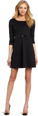 Star Vixen Women's Longsleeve Ponte Skater Dress with Belt