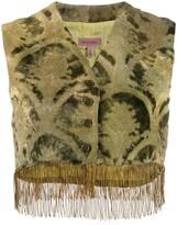 Romeo Gigli Pre Owned 1990's brocade fringed waistcoat