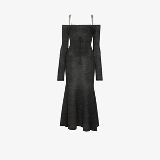 Jacquemus Lauries off-the-shoulder knit midi dress