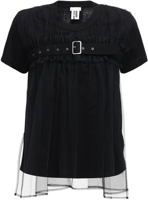 Noir Kei Ninomiya Cotton Jersey T-shirt W/ Organza Detail
