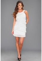 Laundry by Shelli Segal Sleeveless Tiered Dress (Silver) - Apparel