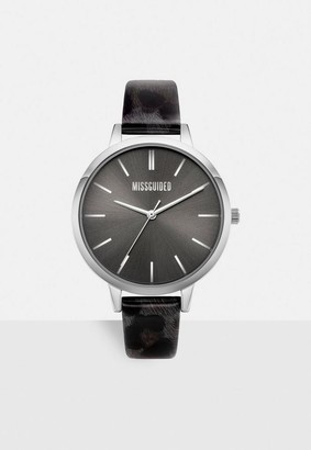 Missguided Black Faux Leather Watch