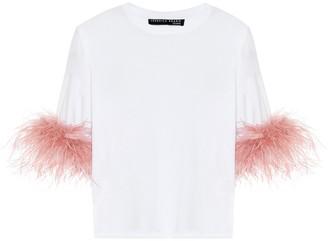 Veronica Beard Feather-trimmed cotton T-shirt