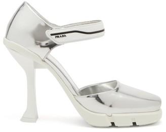 Prada Rubber-sole Metallic-leather Mary Jane Pumps - Silver