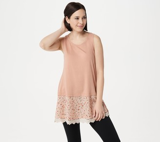 Logo by Lori Goldstein Cotton Modal Tank with Lace Embroidery