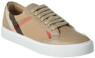 Burberry Low-Top House Check & Leather Sneaker