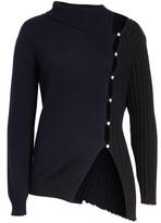 Jacquemus Women's Asymmetrical Button Front Turtleneck Sweater