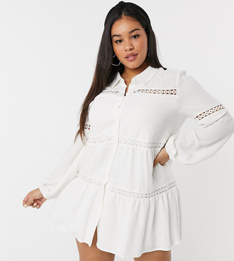In The Style Plus x Lorna Luxe bell sleeve shirt dress with cotton trim in cream