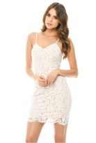 AX Paris Cream/Nude Mini Dress with Contrast Lace Detail
