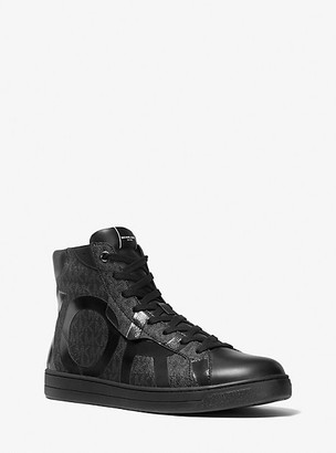 Michael Kors Keating Logo and Leather High-Top Sneakers - Black