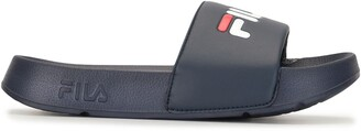 Fila Logo Print Embossed Side Slides