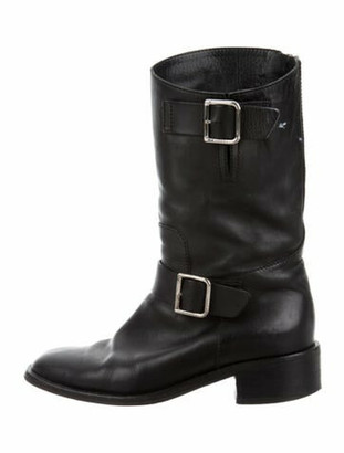 Chanel Leather Moto Boots Black