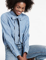 Lucky Brand Chambray Shirt With Feminine Bow