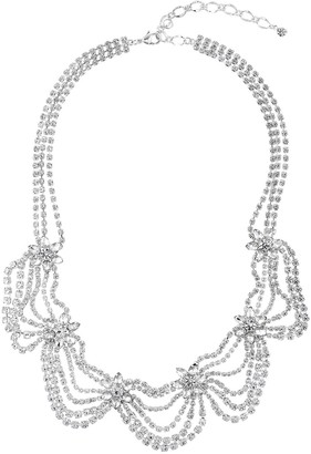 Simulated Crystal Floral Statement Necklace
