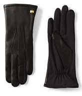 Classic Women's Mixed Media Leather Gloves-Ecru
