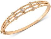 Carolee Gold-Tone Crystal Accented Three Row Hinged Bangle Bracelet