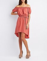 Charlotte Russe Off-The-Shoulder Tie-Waist Dress
