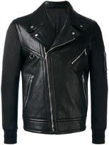 Neil Barrett bi-material biker jacket - men - Cotton/Lamb Skin/Polyester/Polyimide - M