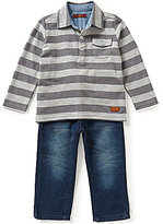 7 For All Mankind Baby Boys 12-24 Months Wide-Stripe French Terry Polo Shirt & Denim Jeans Set