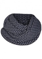 Armani Collezioni Navy Geometric Wool Blend Scarf