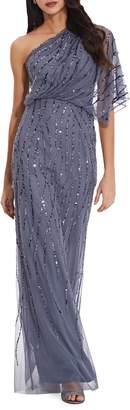 Adrianna Papell One-Shoulder Beaded Long Dress