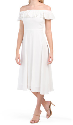 Strapless Pebble Crepe Midi Dress