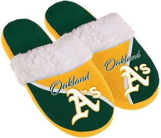 Women's Oakland Athletics Cursive Colorblock Slippers