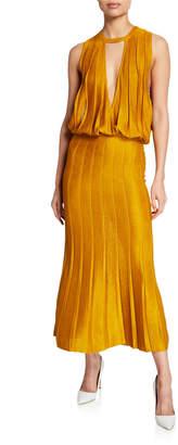 Cushnie Pleated Keyhole Midi Dress