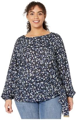 MICHAEL Michael Kors Size Garden Tie Long Sleeve Top (Chambray) Women's Clothing