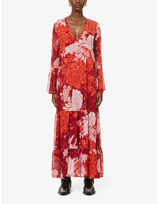 Free People Moroccan patchwork floral-print chiffon maxi dress