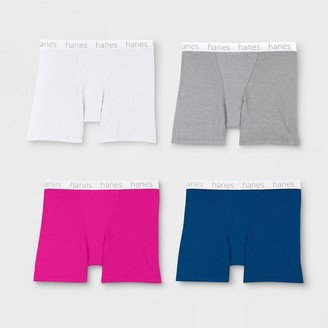 Hanes Premium Hane Premium Women' 4pk Cotton Mid-Thigh with Comfortoft Waitband Boxer Brief - Color May Vary