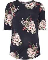 Dorothy Perkins Womens **Maternity Navy Floral Ruched Side T-Shirt