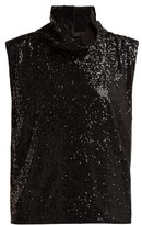 Halpern High-neck Sequinned Top - Womens - Black