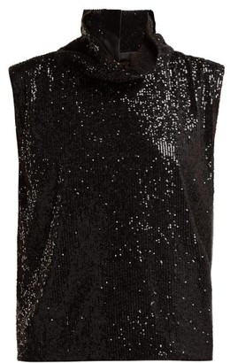Halpern High-neck Sequinned Top - Black