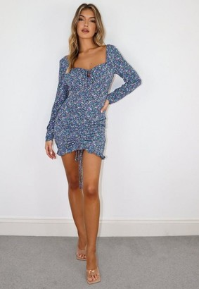 Missguided Purple Floral Ruched Lace Up Mini Dress