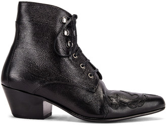 Saint Laurent Rebecca Lace Up Booties in Black | FWRD