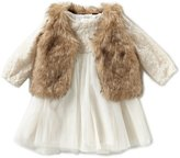 Starting Out Baby Girls 3-24 Months Lace Dress & Faux-Fur Vest Set