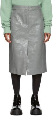 Tibi Grey Croc Patent Trouser Skirt