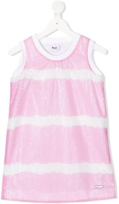 Msgm Kids Sequin-Embellished Striped Tank Top