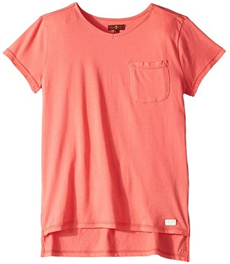 7 For All Mankind Kids High-Low V-Neck Pocket Tee (Big Kids) (Calypso Coral) Girl's T Shirt