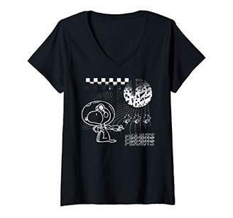 Peanuts Womens Snoopy Space Psych V-Neck T-Shirt